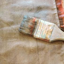 peinture pinceau tissu organza soie